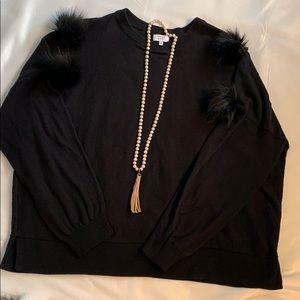 Crown & Ivy black Pom Pom sweater!  XXL